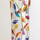 "NIB Murano Decorative Glass Colorful Leaves 8"" Bud Vase"