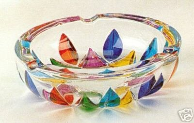 Murano Italian Art Glass Multicolor Leaves Round Glass Ashtray NEW