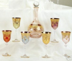 Set of 6 Murano Medici 24K Gold Overlay Crystal Wine Goblets