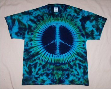 Tie Dye Turquoise Blue & Green Peace Sign T-Shirt