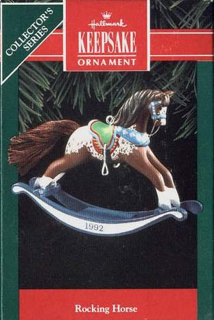 Hallmark Keepsake Christmas Ornament Rocking Horse 1992 Brown & White #12 FB ~*~
