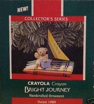 Hallmark Keepsake Christmas Ornament Crayola Crayon Bright Journey 1989 Bear Sailboat #1 GB ~*~v