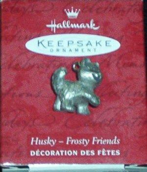 Hallmark MINIATURE Keepsake Christmas Ornament KOCC Frosty Friends 2000 DAMAGED Pewter Husky  GB ~*~