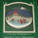 Hallmark Keepsake Christmas Ornament Joy of Friends 1986 Padded Satin Ornament Skaters PB ~*~