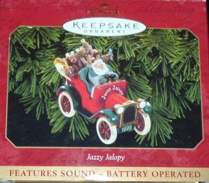Hallmark Keepsake Christmas Ornament Jazzy Jalopy 1999 Santa & Reindeer in Car Sound FB ~*~v