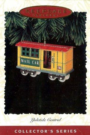 Hallmark Keepsake Christmas Ornament Yuletide Central 1996 Tin Train Mail Car #3 GB ~*~