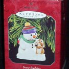 Hallmark Keepsake Christmas Ornament Snow Buddies 1998 Snowman/Rabbit #1 PB ~*~v