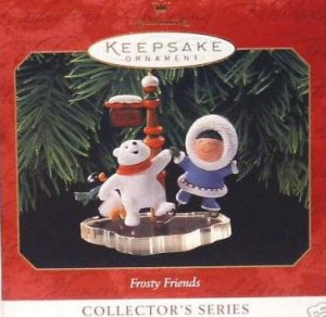 Hallmark Keepsake Christmas Ornament Frosty Friends 1999 Eskimo Bear Penguin Ice Skating #20 FB ~*~