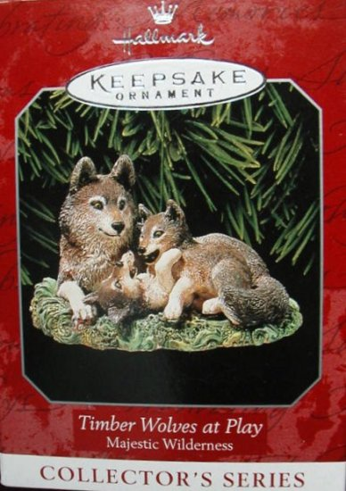 Hallmark Keepsake Christmas Ornament Timber Wolves at Play 1998 Majestic Wilderness #2 GB ~*~