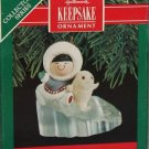 Hallmark Keepsake Christmas Ornament Frosty Friends 1990 Eskimo Baby Seal Sliding on Ice #11 FB ~*~v