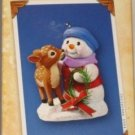 Hallmark Keepsake Christmas Ornament Snow Buddies 2004 Snowman with Deer Fawn #7 GB ~*~v