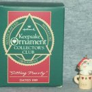 Hallmark MINIATURE Keepsake Christmas Ornament KOCC Membership 1989 Sitting Purrty Kitten VGB ~*~