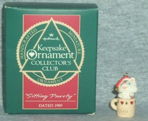 Hallmark MINIATURE Keepsake Christmas Ornament KOCC Membership 1989 Sitting Purrty Kitten VGB ~*~v