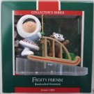 Hallmark Keepsake Christmas Ornament Frosty Friends 1989 Eskimo Husky Pup in Sled #10 FB ~*~v