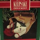 Hallmark Keepsake Christmas Ornament 1990 Meow Mart Kitten / Cat in Bag GB ~*~v
