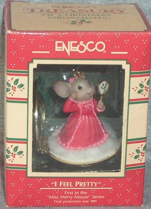 Enesco I FEEL PRETTY 1989 Miss Merry Mouse Series #1 Mouse w/Mirror FB ~*~v