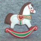 Hallmark 1982 Christmas Rocking Horse Holiday Lapel Pin   ~*~