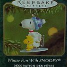 Hallmark MINIATURE Keepsake Christmas Ornament Winter Fun With Snoopy 2001 #4 VGB ~*~