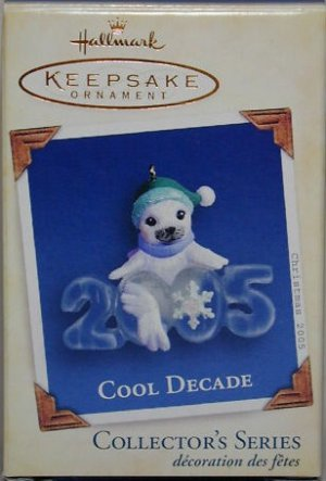 Hallmark Keepsake Christmas Ornament Cool Decade 2005 Baby Seal Elf Hat #6 GB ~*~v