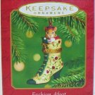 Hallmark Keepsake Christmas Ornament Fashion Afoot 2001 Porcelain Shoe Mouse Hinged Box #2 VGB ~*~v