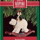 Hallmark Keepsake Christmas Ornament Bearback Rider 1990 Polar Bear Penguin FB ~*~