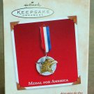 Hallmark Keepsake Christmas Ornament 2002 Medal for America Home of the Brave Metal FB ~*~v
