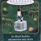 Hallmark MINIATURE Keepsake Christmas Ornament Ice Block Buddies 2001 Penguins #2 GB ~*~