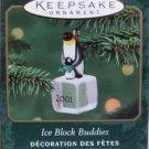 Hallmark MINIATURE Keepsake Christmas Ornament Ice Block Buddies 2001 Penguins #2 GB ~*~