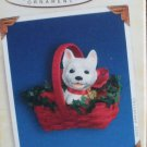 Hallmark Keepsake Christmas Ornament Puppy Love 2005  Westie in Basket Pup Dog #15 VGB ~*~v