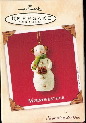 Hallmark Keepsake Christmas Ornament 2003 Merriweather Snowman Snowgirl GB ~*~v