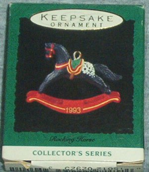 Hallmark MINIATURE Keepsake Christmas Ornament Rocking Horse 1993 #6 GB ~*~