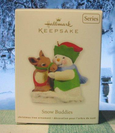 Hallmark Keepsake Christmas Ornament Snow Buddies 2011 Snowman with Reindeer #14 GB ~*~v