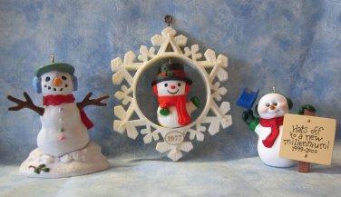 Hallmark Keepsake Christmas Ornament LOT of 3 Snowmen NO Boxes ~*~v