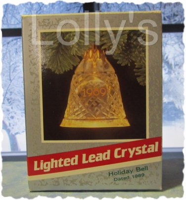 Hallmark Keepsake Christmas Ornament Lead Crystal Holiday Bell 1989 Lighted GB ~*~