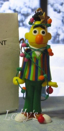 Jim Henson Christmas Ornament Sesame Street Muppets 1992 Bert Tangled in Light String ~*~