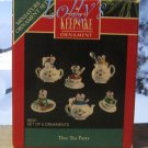 Hallmark MINIATURE Keepsake Christmas Ornament Set 1991 Tiny Tea Party Mouse Mice GB ~*~