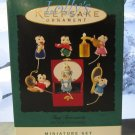 Hallmark MINIATURE Keepsake Christmas Ornament Set 1995 Tiny Treasures Mouse Mice GB ~*~v
