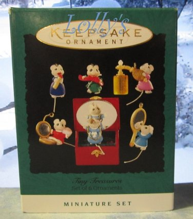Hallmark MINIATURE Keepsake Christmas Ornament Set 1995 Tiny Treasures Mouse Mice GB ~*~v