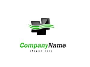 Green and black logo with lines #1010