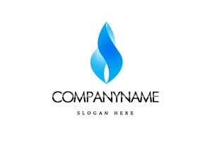 Blue and black flame style logo #1032