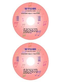 """Pink notes"" cd/dvd label template"