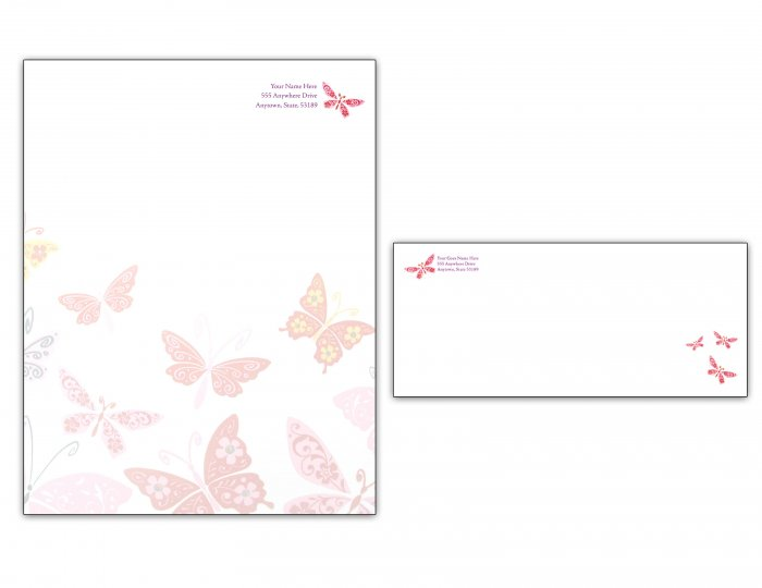 Butterfly Letterhead/ Envelope set 001
