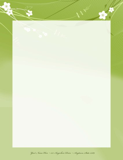 Green flower letterhead template 009