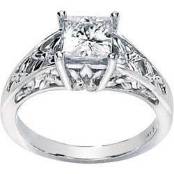 NEW 14K White Gold Created Moissanite Engagement Ring