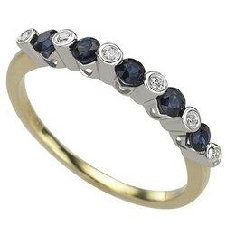 NEW 14K Two Tone Gold Round Sapphire & Bezel Set Diamond Band Ring