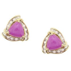 NEW Pink Star Sapphire and Diamond Earrings-14K Yellow Gold