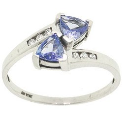 NEW Tanzanite and Diamond White Gold Ring trillion cut