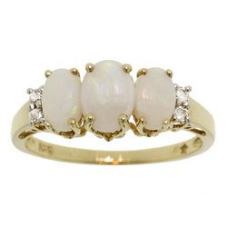 New Opal Diamond Gold 3 Stone Ring
