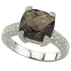 14K White Gold Smoky Topaz & Diamond Ring