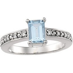 Great Buy 14K White Gold Genuine Aquamarine & Diamond Ring